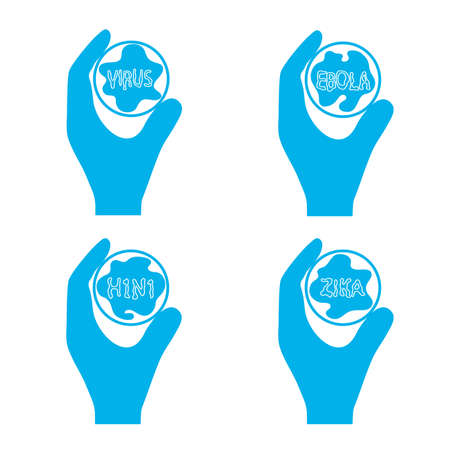 test tube with a virus in a hand icon symbol of fight against an epidemic
