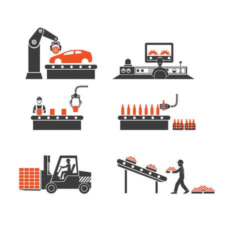 Ikony linii produkcyjnych przenośnika Ilustracje wektorowe