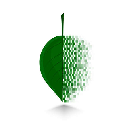 crumbling: pixel art design crumbling green leaf