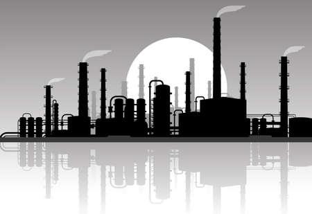 paesaggio industriale: panorama di sera industriale Vettoriali