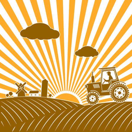 labranza: tractor trabajando en el campo de la ilustraci�n Vectores