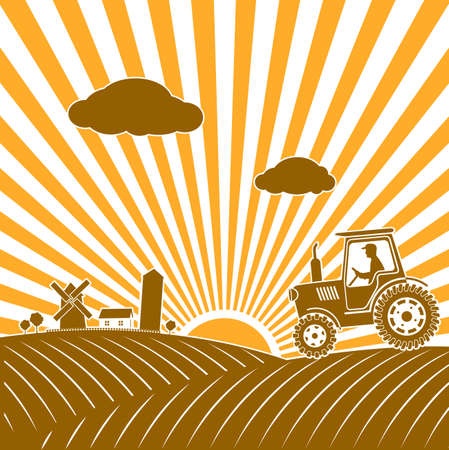 seeding: tractor working in the field illustration