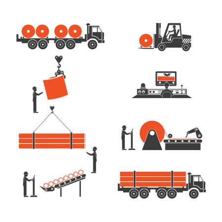 metallurgy: icons metallurgy production of pipes
