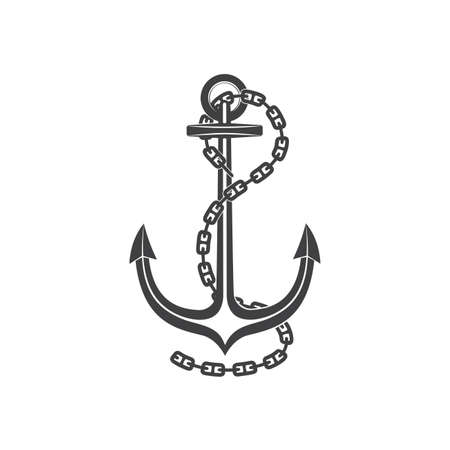 silhouette of old anchor with a chain