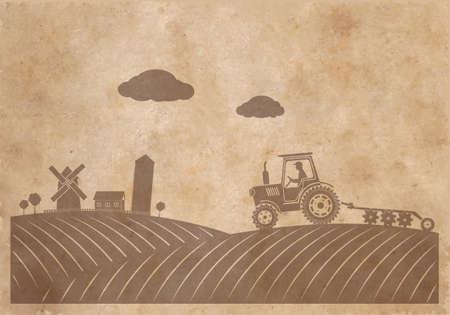 tillage: La textura del paisaje rural de papel viejo en el estilo grunge