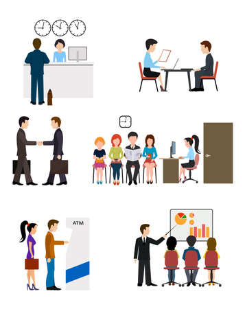 finance department: Icons on business banking system flat style