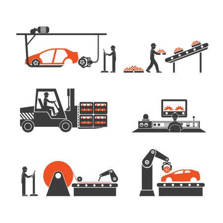 iconos líneas de producción de la cinta transportadora