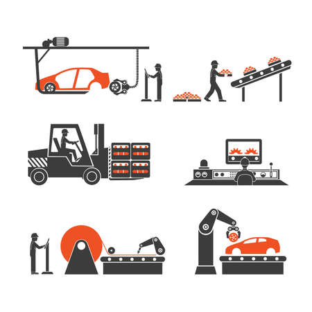 Symbole Produktionslinien des Förder