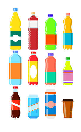 soft drinks: cold drink set on a white background Illustration