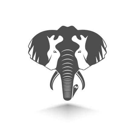 animal ear: icon is a head of elephant Illustration