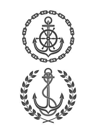 iron and steel: marine symbols on a white background