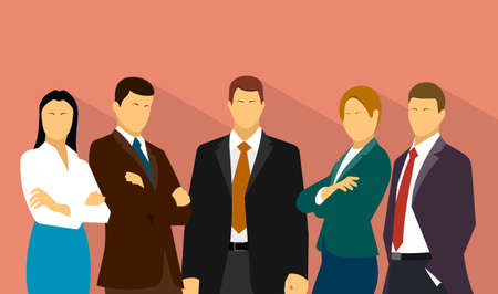 business work: command work is a group of business people Illustration