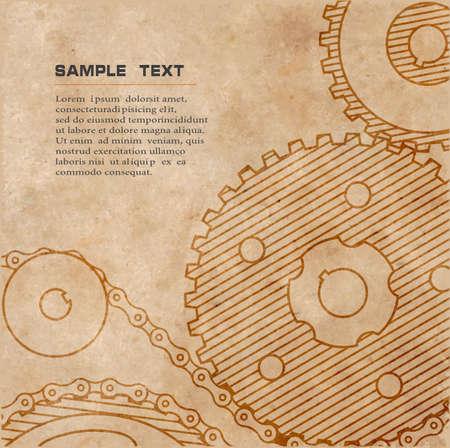 vecchio disegno tecnico di ingranaggi su carta in stile grunge Vettoriali
