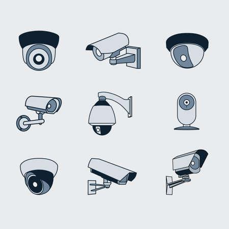 set of icons surveillance camera