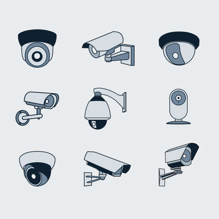 set of icons surveillance camera