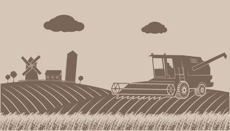 grain fields: cleaning up grain-growing rural landscape Illustration