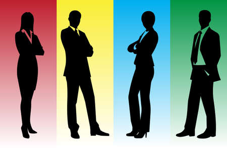business people shaking hands: silhouettes of businessmen