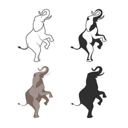 elephant head: circus elephant on back legs illustration
