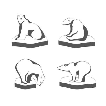 cruel zoo: A polar bear sits on the ice the symbol of the Arctic. Illustration