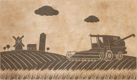 corny: rural landscape texture of old paper in grunge style