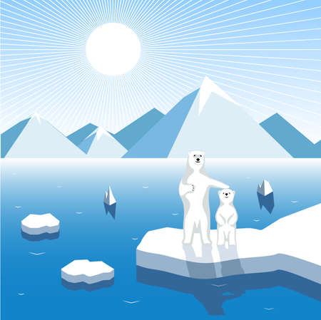 floe: Arctic bear-cub with a female bear on a block of ice, artistic illustration