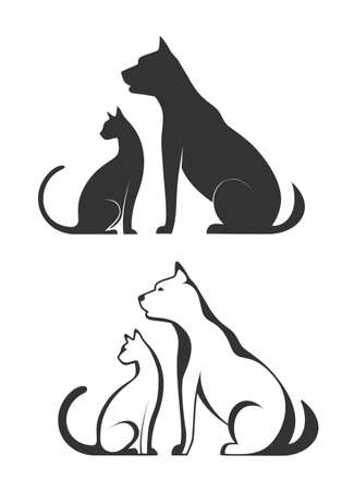 cat: Silhouettes of pets, cat dog