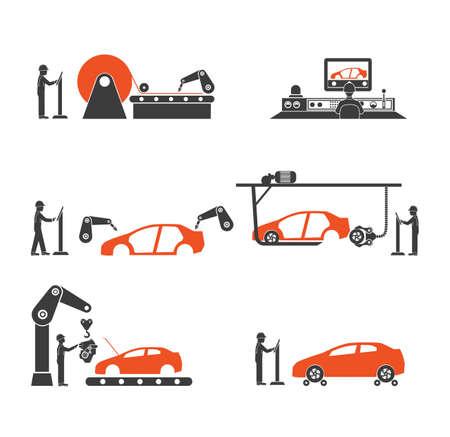 file d attente: Icône ligne de production de voiture Illustration