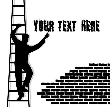 writes: Man on a stair writes text
