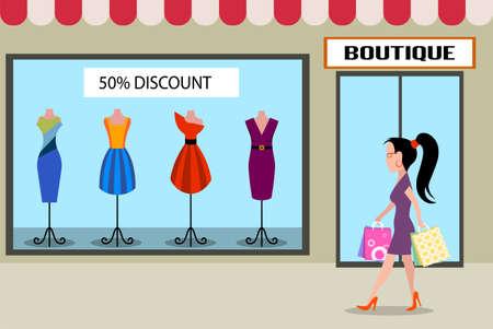 people shopping: girl accomplishing purchases flat style