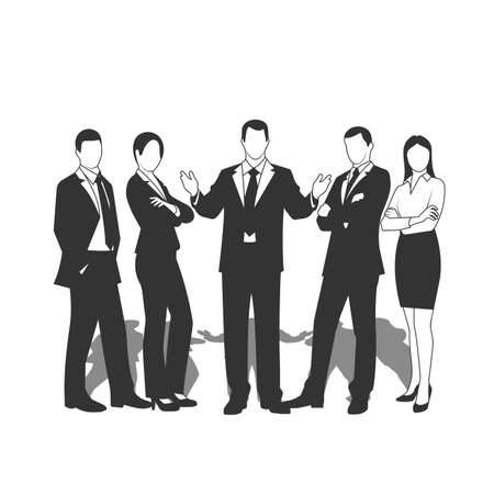 executive: drawings businessmen on a white background