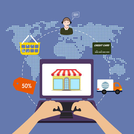 online purchase: The internet is a shop. On-line of purchase