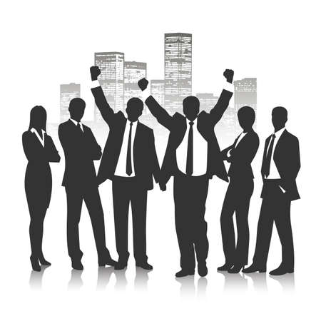 standing man: silhouettes of business people