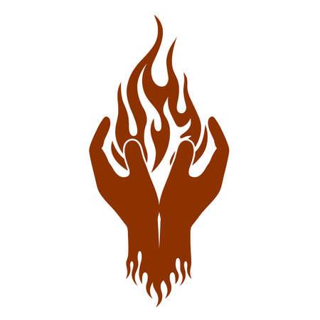 fire is in hands.Art design