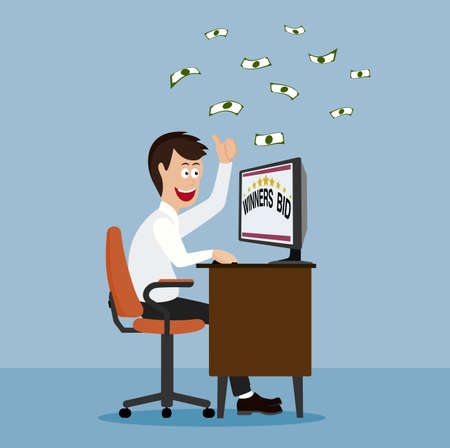 winning bid: man winning online games Illustration