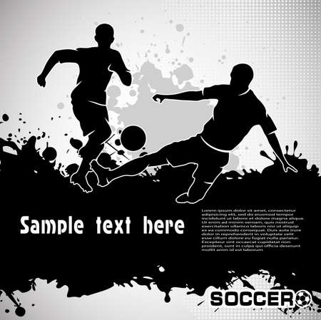 soccer pass: Football match, kick a ball, composition grunge style, vector illustration