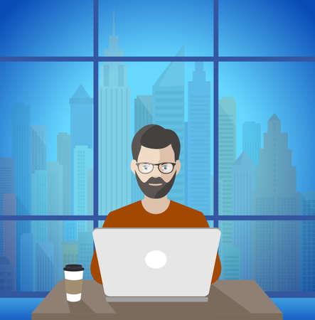 freelancer: man at the computer freelancer at work illustration