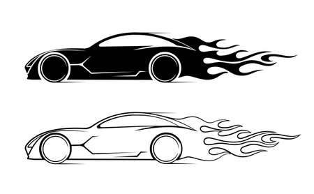 dynamic silhouette of the car, icon automotive topics 向量圖像