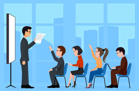 A group of students. A training seminar .Speaking to the audience flat style Illustration