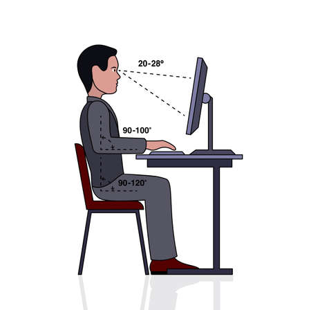 infographics correct posture at the computer silhouette of a man at a table