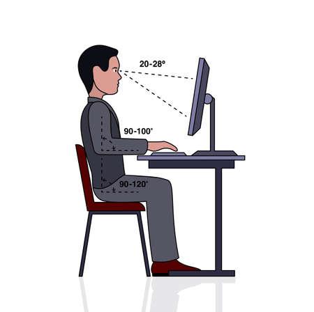 buena postura: infografía postura correcta en la silueta de la computadora de un hombre en una mesa Vectores