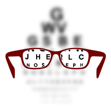 Optometry medical background glasses with blurred background Illustration