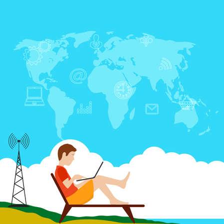 freelancer: male freelancer remote work at the computer