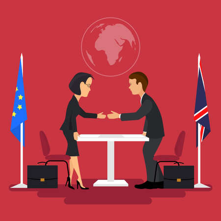 signing: Business meeting of politicians, signing of agreements.Flat style