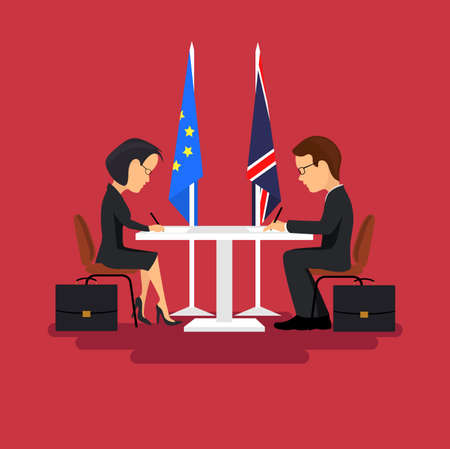 politicians: Business meeting of politicians, signing of agreements.Flat style