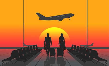 caminar: gente de la silueta en un aeropuerto