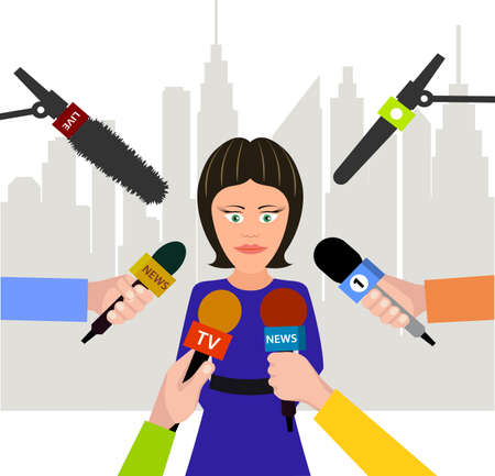 city live: woman gives an interview Illustration