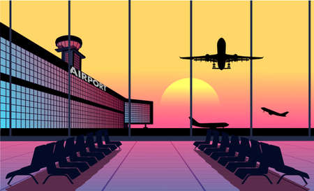 airport terminal: view from airport terminal Illustration
