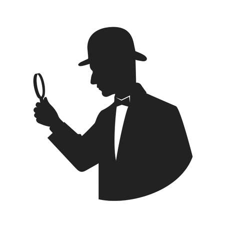 sleuth: silhouette of a detective with magnifier