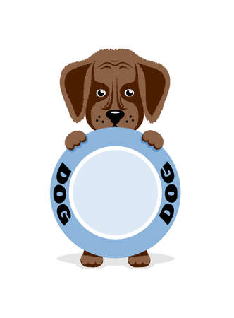 hungry: Hungry puppy holds a bowl. illustration Illustration