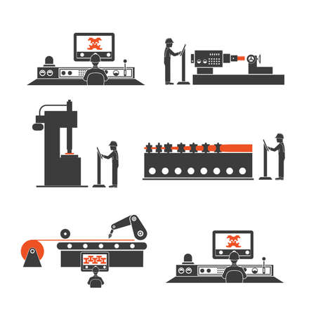 packaging equipment: icons of technological processes of production Illustration
